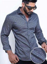 Paul Cobalt Blended Slim Fit Printed Shirt