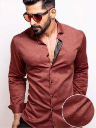 Paul Red Blended Slim Fit Printed Shirt