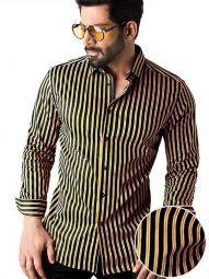 Rafa Ochre Blended Slim Fit Striped Shirt