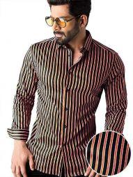 Rafa Orange Blended Slim Fit Striped Shirt