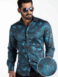Rayel Blue Blended Slim Fit Printed Shirt