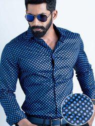 Razz Cobalt Blended Slim Fit Printed Shirt