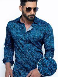 Rogers Cobalt Blended Slim Fit Printed Shirt