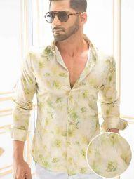 Salcedo Green Blended Slim Fit Printed Shirt