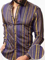 Salvatore Ochre Blended Slim Fit Printed Shirt
