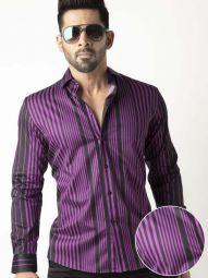 Sinaloa Purple Blended Slim Fit Striped Shirt