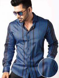 Sinaloa Cobalt Blended Slim Fit Striped Shirt