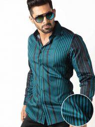 Sinaloa Teal Blended Slim Fit Striped Shirt