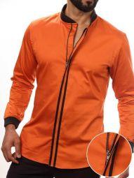Stefano Orange Blended Slim Fit Solid Shirt
