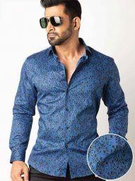 Theon Cobalt Blended Slim Fit Printed Shirt