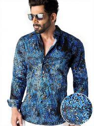 Tijuana Cobalt Blended Slim Fit Printed Shirt