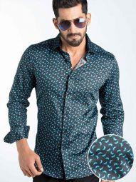 Timmi Blue Blended Slim Fit Printed Shirt