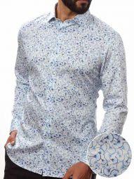 Tommaso Sky Blended Slim Fit Printed Shirt