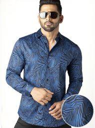 Tommen Cobalt Blended Slim Fit Printed Shirt