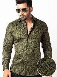 Tommen Green Blended Slim Fit Printed Shirt