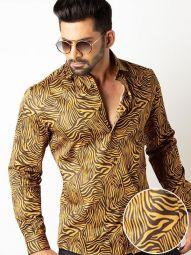 Tommen Ochre Blended Slim Fit Printed Shirt