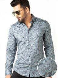 Tyrion Turquoise Cotton Slim Fit Printed Shirt