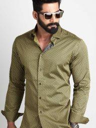 Walker Ochre Blended Slim Fit Printed Shirt
