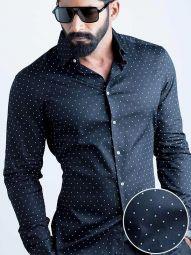 Wolfpk Black Blended Slim Fit Printed Shirt