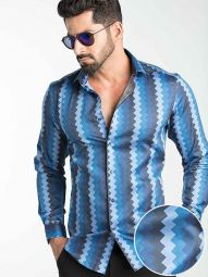 Yves Blue Blended Slim Fit Printed Shirt