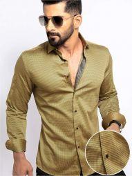 Zayn Ochre Blended Slim Fit Printed Shirt
