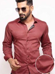 Zayn Red Blended Slim Fit Printed Shirt