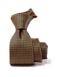 Campania Striped Dark Gold Silk Tie
