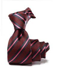 Kingsford Striped Dark Maroon Polyester Tie