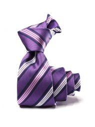 Kingsford Striped Medium Purple Polyester Tie