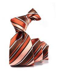 Sicilia Striped Dark Orange Silk Tie