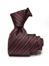 Sicilia Striped Dark Black Silk Ties