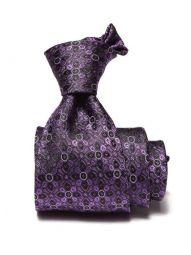 Torino Checks Dark Purple Silk Tie