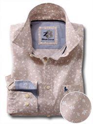 Mulanay Beige Cotton Casual Printed Shirt