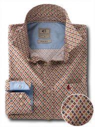 Starfire Beige Cotton Casual Printed Shirt