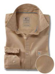 Tottenham Beige Cotton Casual Solid Shirt