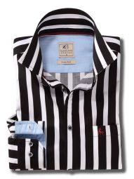 Sevilla Black Cotton Casual Striped Shirt