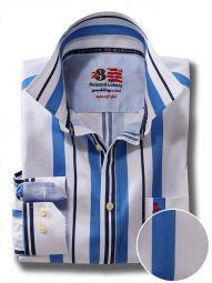 Ronda Blue Cotton Casual Striped Shirt