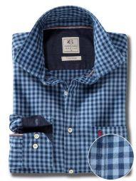 Elliot Indigo Blue Cotton Casual Checks Shirt