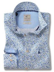Leeds Blue Cotton Casual Printed Shirt