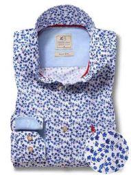 Sheffield Blue Cotton Casual Printed Shirt