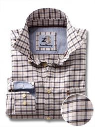 Dunham Brown Cotton Casual Checks Shirt