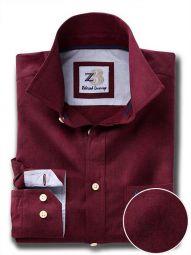 Daniel Burgundy Cotton Casual Solid Shirt