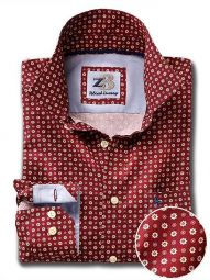Lopez Burgundy Cotton Casual Printed Shirt
