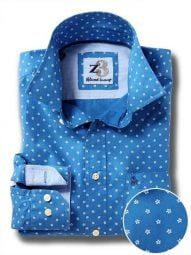 Aguero Cobalt Cotton Casual Printed Shirt