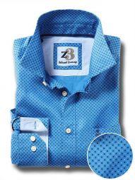 Modric Cobalt Cotton Casual Printed Shirt