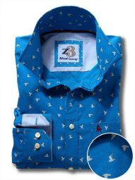 Egret Cobalt Cotton Casual Printed Shirt