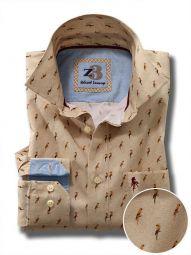 Rio Cream Cotton Casual Printed Shirt