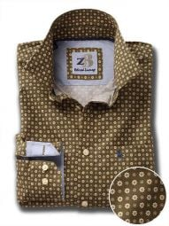 Lopez Green Cotton Casual Printed Shirt
