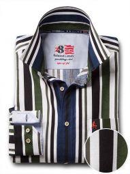 Negroni Green Cotton Casual Striped Shirt