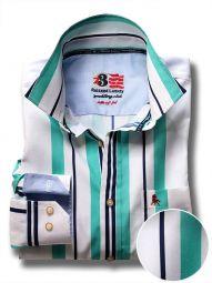 Ronda Green Cotton Casual Striped Shirt